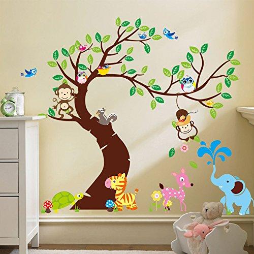 Wandaro W3318 Wandtattoo Baum mit Zebra REH Elefant Affen - Rehe Wandtattoo Bäume