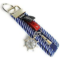 Schlüsselanhänger, Handtaschenanhänger Sylt aus Stoff in blau mit Steuerrad und Leuchtturm - Handgemacht / Handmade - Geschenk / Ostern