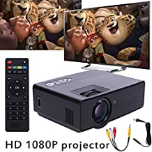 Vanpower Proyector multimedia portátil con LED de 7000 lúmenes HD 1080P 3D LED