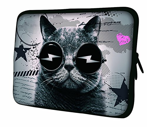 17,8- 44,7cm cm Design Laptop Notebook Tablet borsa morbida.Vari modelli e misure disponibili. (parte 2di 3), multicolore (Cat in glasses), 36 cm (280x360mm)