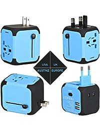 voyage adaptateur .AC adaptateur chargeur,Tout en un US UK EU AU Plugs Universel Prise Multi-prise adaptateur avec deux usb port