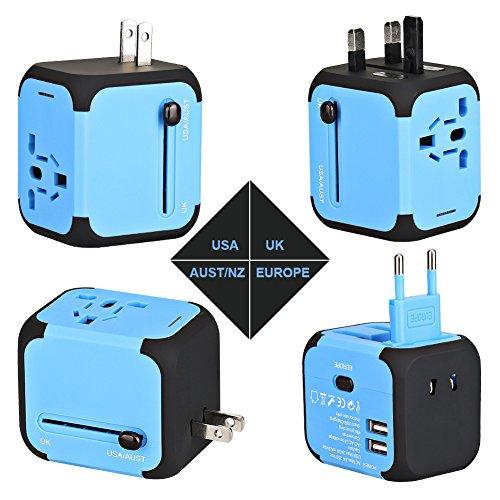 Reiseadapter AC-Ladegerät Adapter All in One US UK EU AU Stecker Universal-Adapter-Stecker Multi-Sockel mit zwei USB-Anschluss