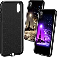 TEOYALL iPhone XS MAX Cases,Luminous Effect Tempered Glass Back Cover Case [Anti-Scratch] with Soft Silicone Bumper for 5.8 inch iPhone XS MAX-The Silent Night