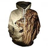 Uomini felpe con cappuccio Felpa uomini funny 3D Tiger Lion moda harajuku brand plus taglia S-3XL felpa con cappuccio stampato uomini donne maglioni lion M