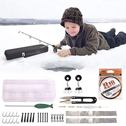 Kalaokei Portable Winter Solid Ice Fishing Rod Reel Line Tackle Tool Accessories Kit