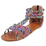 Kinlene Femmes Bohême Sandales Plates Été Boho Peep Clip Toe T-Sangle Chaussures De Plage Vintage Flip Flops Tongs Pantoufles