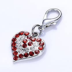 Pinkdose Red, S: Pink Red Blue Color Pet Dog Tags Crystal Heart Shaped Pendants Collar Charm Stainless Steel Jewelry Dog Accessories