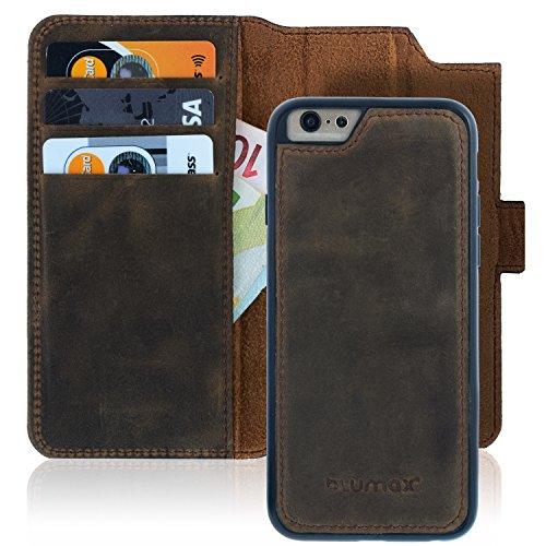 "Blumax iPhone 6 6s Handyhülle 2in1 abnehmbar Leder mit Magnetverschluss 4,7"" Zoll herausnehmbare Hülle Booklet Farbe Vintage-Braun Premium (Abnehmbarer Leder)"