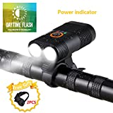 VASTFIRE Bike Lights Front USB Rechargeable 2 XM-L2 T6 LED Lamp Bead Cycling Headlights with Battery Power Display Function and Daytime Flash Mode Perfect for Commuting Road Bike