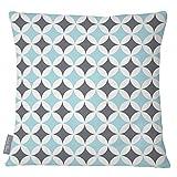 Izabela Peters Designer wasserfester stoff Garten Außen Kissen -marrakech Sammlung - entworfener bedruckt & Handgefertigt in Großbritannien - Bahia - Celeste blau & grau