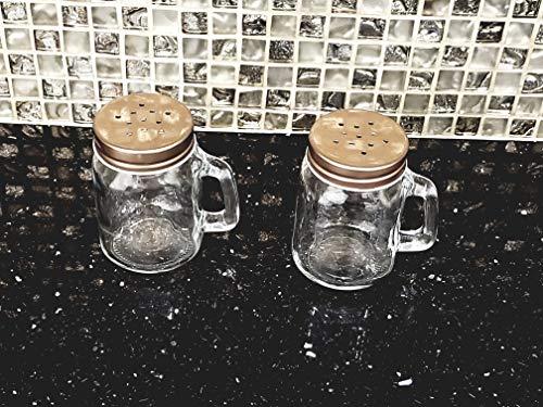 Salz- und Pfefferstreuer Set Mason Jar (klares Glas) Vintage inspiriertes Design (Gläser, Mason Besteck)