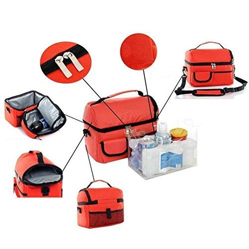 Borsa porta pranzo grande capacità per borsa termica per il pranzo con tracolla regolabile Orange Orange