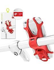 Fahrrad Handyhalterung für alle Smartphones, rostfrei und bruchfest, patentiert und mit einem Design Award ausgezeichnet, universaler Fahrradhalter für Telefone und Geräte mit einem 4-6 Zoll Bildschirm, Handyhalter Fahrrad, Rennrad sowie Mountainbikes, auch kompatibel mit Motorrädern und Scootern