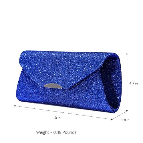 Borsa da sera borsa Pochette Donna Borse Sacchetto da Sera Borse Tracolla Clutch Borsetta Borsa Portafoglio Frizioni Argento Blu