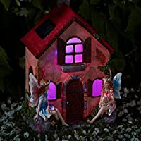 Direct Global Trading Hand Painted Fairies Only Cottage Solar Powered Dwelling with Colour Changing LED