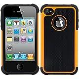 kwmobile Funda híbrida para > Apple iPhone 4 / 4S < en naranja negro. Interior de gel TPU, ¡estructura rígida! Ideal para uso al aire libre y ultramoderna