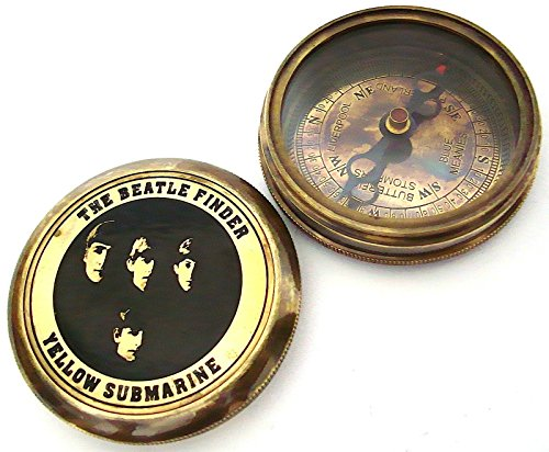 casanova nauticals THE BEATLE FINDER Compass YELLOW SUBMARINE - Collectable Beatle Compass with Leather Case