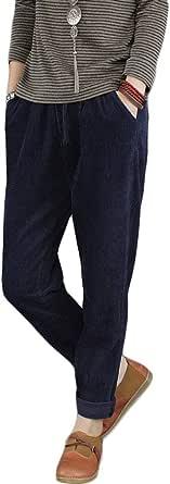 FTCayanz Donna Pantaloni Larghi Cotone Pantalone Vita Alta Harem Pantaloni di Velluto a Coste