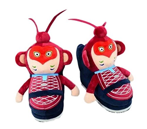 Bigood Chinesisch Affenkönig Form Haus Schuhen Warm Hausschuhen für 34-39Size Blau