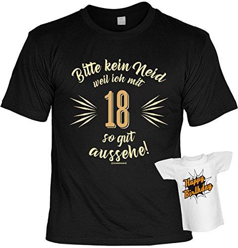 Geburtstag T-Shirt 18 Jahre - Bitte kein Neid Shirt 4 Heroes bedruckt Geschenk Set mit Mini Flaschenshirt Schwarz