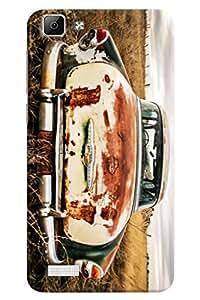 Omnam Old Vintage Car Printed Designer Back Cover Case For Vivo V1