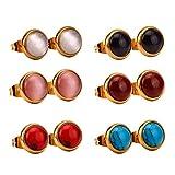 LUXUSTEEL 6 Paar farbige Opal-Ohrringe aus antiallergischem Edelstahl f¨¹r M?nner/Frauen