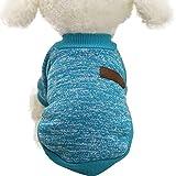 Classic Vestiti del Cane Vestiti Caldi Cucciolo Vestito Pet Cappotto del Rivestimento di Inverno Vestiti del Cane Maglione Morbido Abbigliamento per Cani di Piccola Taglia Chihuahua (Blu, S)