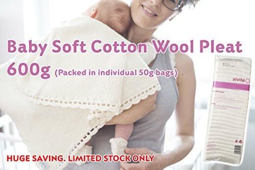 Super Doux bébé Coton Laine Pleat | Bulk Lot de 600 g | emballés dans des pratiques Sacs de 50 g
