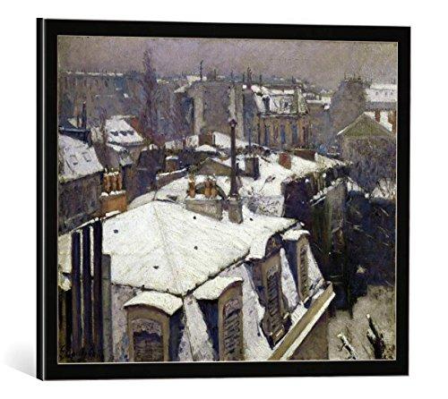 kunst für alle Bild mit Bilder-Rahmen: Gustave Caillebotte Vue de toits Effet de Neige dit Toits Sous la Neige - dekorativer Kunstdruck, hochwertig gerahmt, 50x40 cm, Schwarz/Kante grau