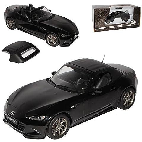 Mazda MX5 ND Cabrio Schwarz Metallic mit abnehmbarem Soft Ab 2015 Limitiert 1 von 600 Triple 9 1/18 PremiumX Modell Auto mit individiuellem (Modellauto Mazda Mx 5)