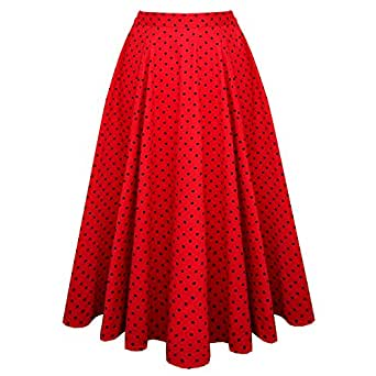 Hearts and Roses London Red Polka Dot Vintage Retro 1950s Flared Skirt Excellent Quality 12