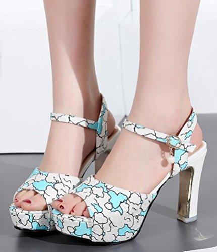 Aisun Damen Modern Stoffdruck Peep Toe Quaste Künstliche Perlen Schnalle Pumps Sandalen Blau