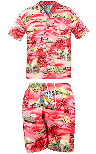 True Face Men Shirt & Shorts Ship Fuchsia S (Hawaiian Kurzarm-shorts)