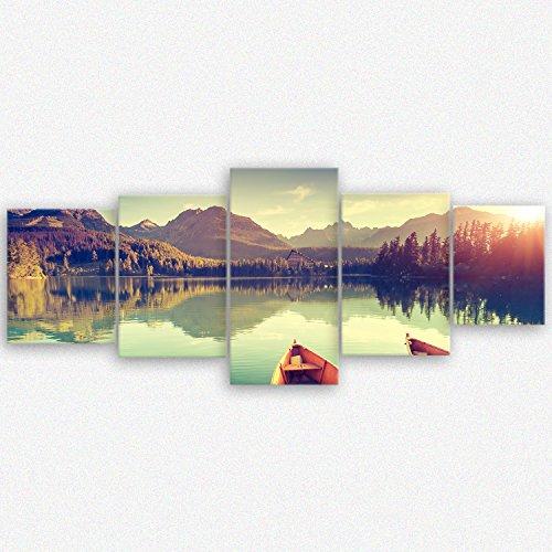 """ge-Bildetge 2214-1063-D-50x50 BildetLeinwandbild zum Angebotspreis Naturbilder Landschaftsbilder """"Tatra Nationalpark in der Slowakei"""" natur - 200x80 cm 5 teilig - direkt vom Hersteller aus Deutschland - Made in Germany 2214 D"""