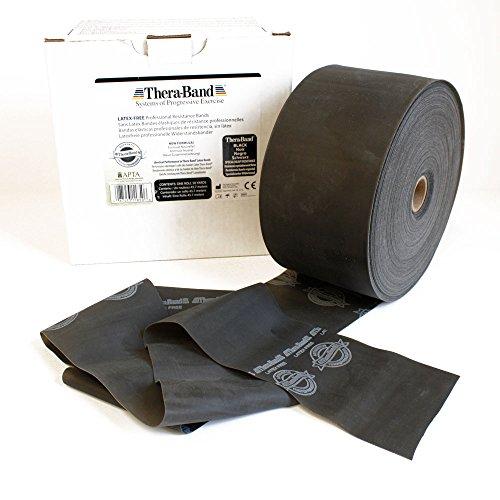 Thera-Band® Schwarz Übungsband und Fitnessband LATEXFREI von der Rolle geschnitten, Meterware, Gymnastikbänder für Reha, Physiotherapie, Krankengymnastik für Allergiker (5 Meter)