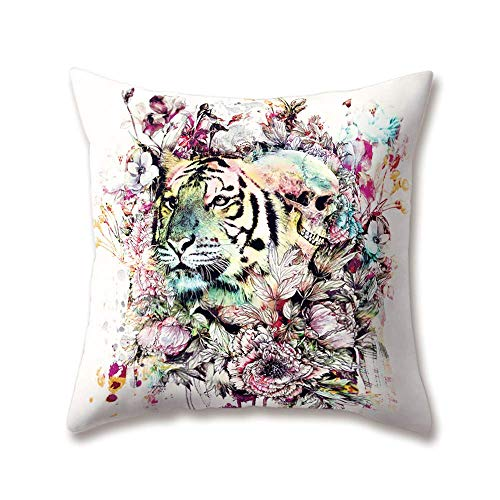DHNKW Soft Plush Zoo Cushion Covers Colorful Animal Elephant Wolf Zebra Deer Hawk Parrot Printing Throw Soft Plush Pillow Cases for Home Sofa Bed Decorative(18