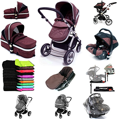 i-Safe System + iSOFIX Base – Hot Chocolate Trio Travel System Pram & Luxury Stroller 3 in 1 Complete With Car Seat + Footmuff + Carseat Footmuff + RainCovers