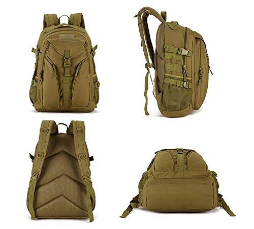 Zaino Unisex 40L Tattico Militare Studente Zaino Outdoor Sport Backpack per Viaggio Escursionismo Campeggio Alpinismo,Nero Marrone Scuro