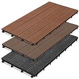 casa pura WPC Terrassenfliesen Prestige | Terrassendielen 60x30 cm | klick Fliese in Holz Optik | Testnote GUT | einzeln oder im Set | Hellbraun (1 Stück)