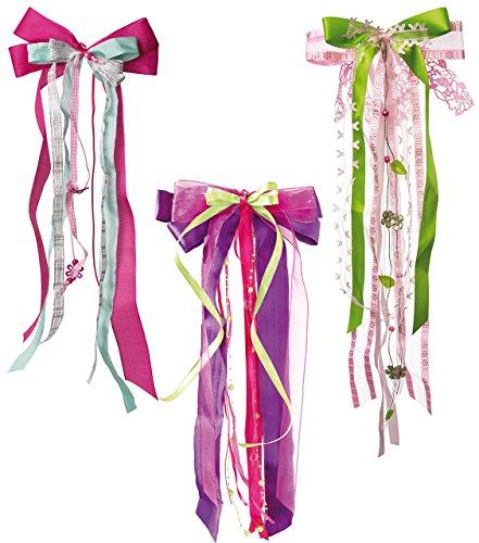 Unbekannt große 3-D Schleife ca. 23 cm breit u. 50 cm lang - für Mädchen / z.B. Schultüten Zuckertüten Geschenke - blau türkis lila gelb Schultütenschleife Schleifen De..