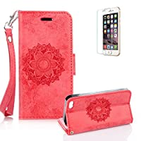 For iPhone 6 6S Case 4.7inch Cover, Funyye Classic Premium Folio PU Leather Wallet Magnetic Flip Cover and [Credit Card Holder Slots] Mandala Flower Patterns Design Protective Case Cover for iPhone 6/6S-Red