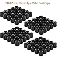 200Packs Plastic Tyre Valve Dust Caps for Car, Motorbike, Trucks, Bike and Bicycle (Black)