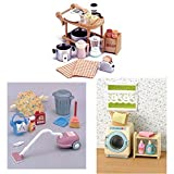 THREE Different Sylvanian Families Sets - Kitchen Appliances, Vacuum Cleaner and Washing Machine Sets