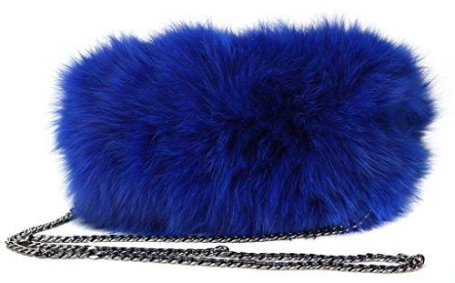Vogueearth Damen'Echte Fuchs Pelz Winter Handtasche Shopper Tasche Beuteltasche Muffstasche Armwärmer Muffs Two Use Königsblau (Ohr Muffs Pelz)