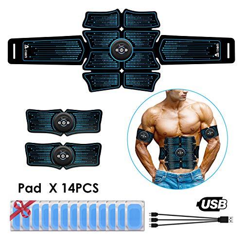 ACTION EMS Bauchmuskeltrainer, Muskelaufbau Elektrostimulation, EMS Trainingsgerät USB Wiederaufladbar für Arm Bauch Beine, Fettverbrennungs Gürtel Männer Frau, 14PCS Gel-Pads EMS