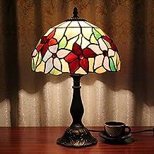 12 pulgadas pastoral patrón de flores antiguos de lujo Tiffany estilo hecho a mano lámpara de mesa de vidrio Bedside cama de la habitación de la luz de los niños
