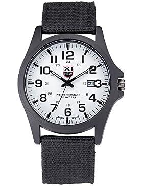 Ularma Herren Uhr Edelstahl Militär Sport Analog Quarz Armee Armbanduhr mit Datum weiß