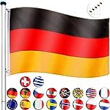 FLAGMASTER Alu Fahnenmast 6,5m + Flagge, Komplettset, 18 verschiedene Fahnen zur Wahl, 5fach höhenverstellbar, 3 Jahre Garantie