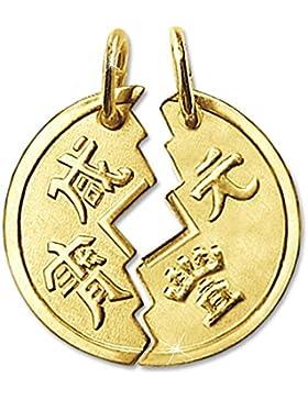 CLEVER SCHMUCK Goldener 2-teiliger Partneranhänger als geteilte Münze Ø 18 mm chinesisch Tai Pan matt und glänzend...