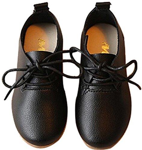DADAWEN Chaussures Souples en Cuir à placet pour fille Noir